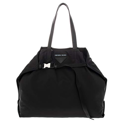 Prada Nylon Tote Bag Buckle Black