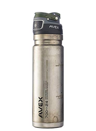 Avex FreeFlow Unfinished Stainless Autoseal Water Bottle, Silver, 700ml/24 oz