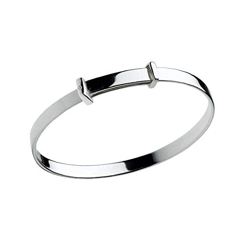 Kid's Sterling Silver Christening Diamond Adjustable Bangle Bracelet With Engraving
