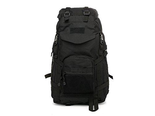 FERFERFERWON Borsa per il bagaglio 60L Tactical Camo Backpack Sport Outdoor Climbing Bag Escursionismo Zaino (Nero) Contenitore da viaggio