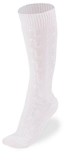 Herren Trachtensocken Kniebundstrümpfe in Größe 41 bis 47 Beige mit Zopfmuster (43, weiß)