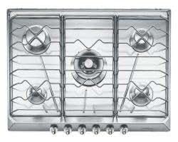 Smeg SRV576X-5 hobs - Placa (Integrado, Gas, Acero inoxidable, 70 cm, 3,2 cm)