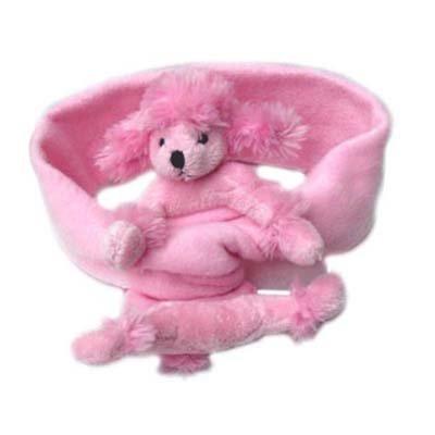 (Bear Hands Fleece Buddy Scarf Pink Poodle on Pink)