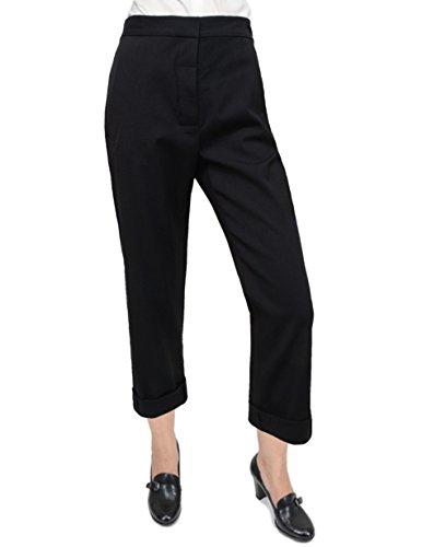 Johnson Wool Pants - Diane von Furstenberg DVF Johnson Wool Blend Cropped Cuffed Pants, 2, Black
