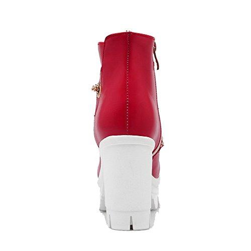 Allhqfashion Donna Tacco Tacco Alto Morbido Materiale Stivaletti Basso-alto Solido Rosso