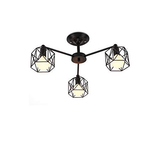 CUICAN Metal Industrial Ceiling Light,Vintage Simple E26 Retro Semi Flush Mount Iron Art Nordic Ceiling lamp for Bedroom Lighting Fixture Black-3 Light 55x25cm
