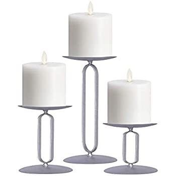smtyle Candle Holders Set of 5 Candelabra for Fireplace Accessories with Black Iron-3.5 Diameter Ideal for Pillar LED Candles