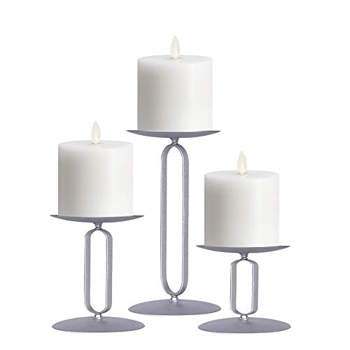 smtyle Pillar Candle Holders Set of 3 Candelabra Ideal for Pillar LED Candles with Iron Oval Silver