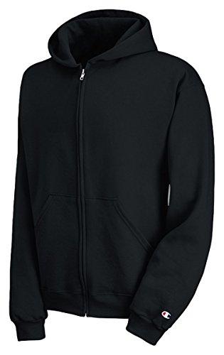 Champion Boys Big Powerblend Eco Fleece Full Zip Hoodie, Black, S