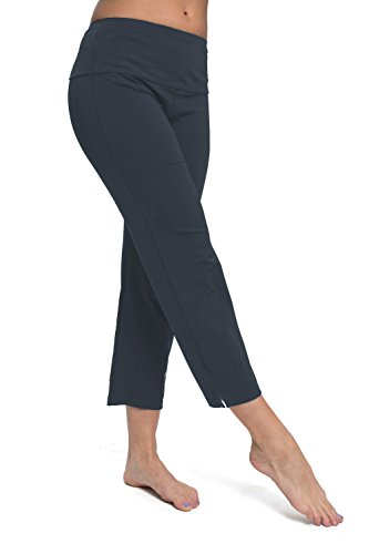Outdoor See Through Fireplace (HydroChic Women's Plus Size Swim Pants – Land & Sea Bathing Suit Capris With Zippered Pocket – Charcoal Grey, 1X)