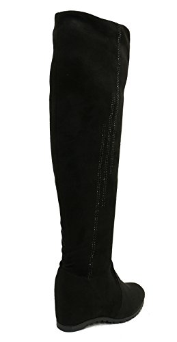 HeelzSoHigh Ladies Black Soft Stretch Over The Knee High Ruched Wedge Boots Shoes Sizes 3-8 0gT19dCC