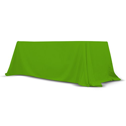 6' - 8' Foot Convertible Table Throw, Stain and Wrinkle Free Washable Polyester Flex Cover (GREEN)