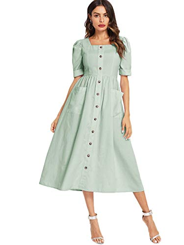 Floerns Women's Puff Sleeve Square Neck Button Down Swing Dress with Pockets Green S
