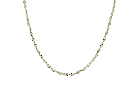 28 Inch 10k Yellow Gold Solid Extra Light Diamond Cut Rope Chain Necklace 2mm by SL Chain Collection