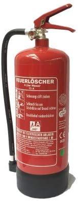 NEU 6L Wasser Feuerlöscher Brandklasse DIN EN 3 GS geprüft mit Wandhalter, Füllmenge: 6 L Gewerbe, Industrie, Haushalt, Gastro, Hotel, Büro, Betrieb, Grill