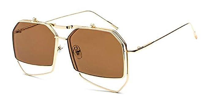 Marrone Gli Irregolare Uv400 Rosso Occhiali Dorato Sovradimensionare lente Unico Trasparente Donne Da Sole Vapore Sfumature Uomini In Quadrato Pieghevole