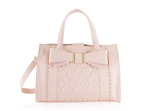 Betsey Johnson Stud Quilted Bow Triple Compartment Satchel Tote Bag - Pink