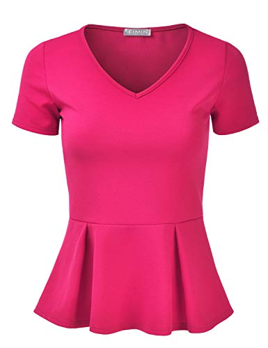EIMIN Women's Short Sleeve V-Neck Stretchy Flare Peplum Blouse Top Fuchsia L