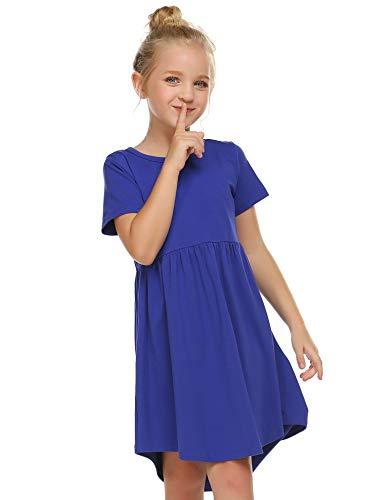 Girl's Summer Casual Dress Short Sleeve Cotton Swing Skater Twirly T-Shirt Dress Blue]()