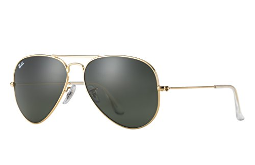 Ray-Ban RB3025 Aviator Sunglasses (58 mm, Gold Metal Frame/Non-Polarized Green G-15 - Aviator Ban Ray Classic Gold