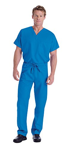 Landau Unisex V-Neck Scrub Top 7502 & Scrub Pant 7602 Medical Uniform Scrub Set (Royal Blue - ()