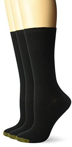 Gold Toe Women's Non-Binding Ribbed Crew Socks, 3 Pairs, Black, Shoe Size: 6-9