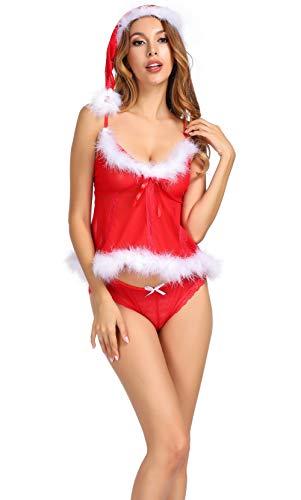 frawirshau Women's Christmas Lingerie Set Sexy Santa Lace Babydoll Chemises Outfit Sleepwear
