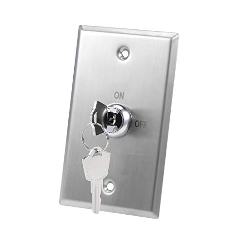 Fielect Key Switch Lock On//Off Exit Switch Stainless Steel Emergency Door Release SPST Access Control Panel Mount with 2 Keys Red LED Indicator for S70KL Model 1Pcs