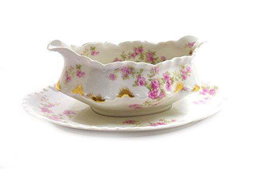 Pink Roses Gravy Boat - Haviland Limoges France Pink Roses Gold Scalloped Edge Gravy Boat w/Underplate