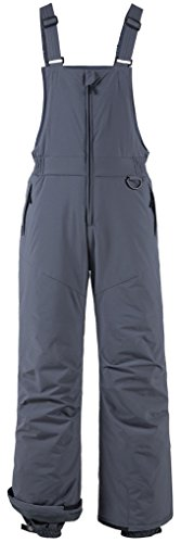 Wantdo Men's Waterproof Windproof Skiing Bib Pants Hiking Mountain Snow Overall(Grey, Large)