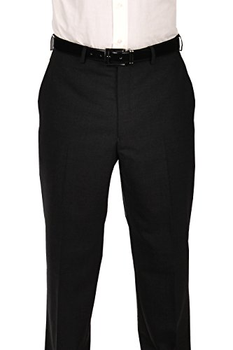 Ralph Lauren Black Wool Dress Pants For Men Classic Flat Front Style Trousers -