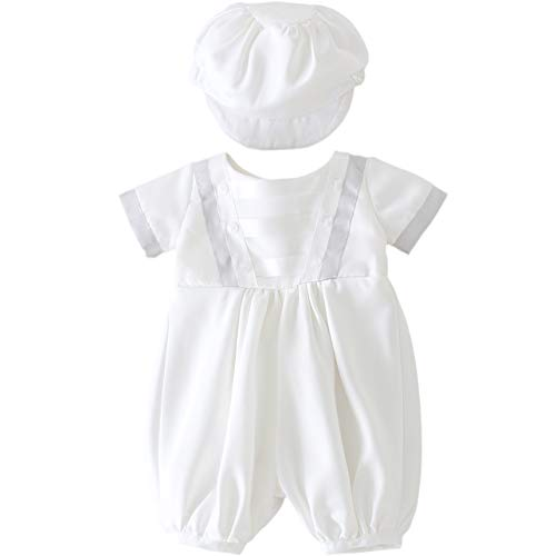 Glamulice Infant Baby Boy Christening Baptism Outfit Christening Romper Baptism Clothes (3M / 0-6 Months, B-White)