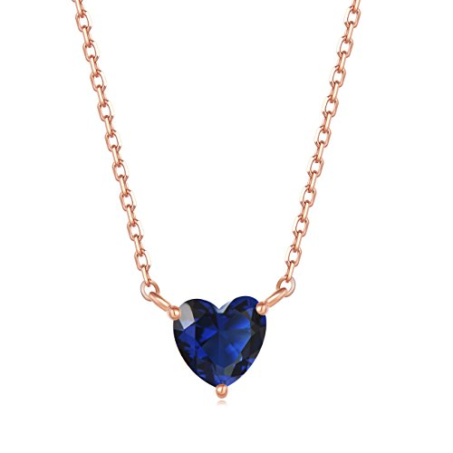 Tiffany Pave Necklace - Carleen 18K Rose Gold Plated 925 Sterling Silver Heart Solitaire Blue CZ Cubic Zirconia Dainty Pendant Necklace for Women Girls with 15.75