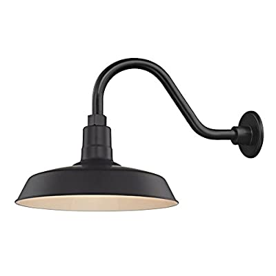"Black Farmhouse Style Industrial Gooseneck Outdoor Barn Light with 14"" Shade for Wet and Damp Locations"
