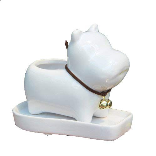 - Bulldog Dog White Ceramic Plant Flower Pots Home Office Decor Planter,Milky Cream White with Tray.(Dog NO.2)