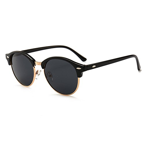 SUNGAIT Retro Round Polarized Sunglasses Classic Semi Rimless for Women Men
