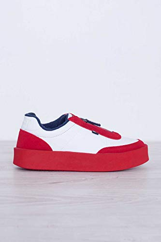 Tommy Ecopelle Camoscio Donna Jeans Con E In Rosso Sneakers Zip Bianca rIxCrnw4q