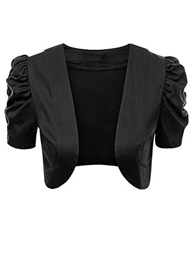 Doublju Women Cotton Satin Fabric Strechy Wear to Work Bolero Quality Shrug Black