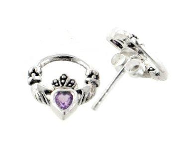 Celtic Amethyst Ring Claddagh Heart (Genuine Amethyst Celtic Claddagh Sterling Silver Post Stud Earrings)