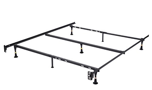 Heavy Duty 7-Leg Adjustable Metal Queen, Full, Full XL, Twin, Twin XL, Bed Frame With Center Sup ...