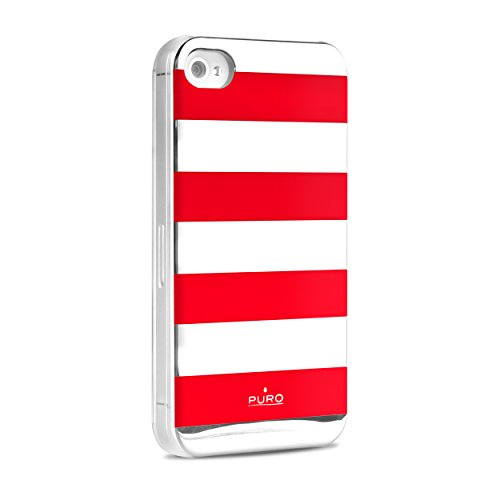 Puro Back Case - Stripe - Apple iPhone 4 / 4S - rot