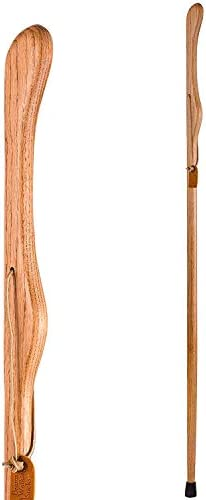Brazos Trekking Pole Hiking Stick for Men and Women Handcrafted of Lightweight Wood and made in the USA, Tan Oak, 55 Inches