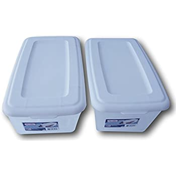 Amazoncom Sterilite 6 Quart Storage Bin Shoe Box Clear and White