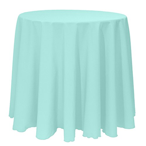 Ultimate Textile 120-Inch Round Polyester Linen Tablecloth Aqua Blue (Blue Round Tablecloth Linen)