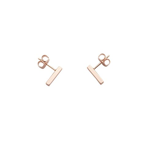 HONEYCAT Flat Drop Bar Stud Earrings in 18k Rose Gold Plate | Minimalist, Delicate Jewelry (Rose Gold)