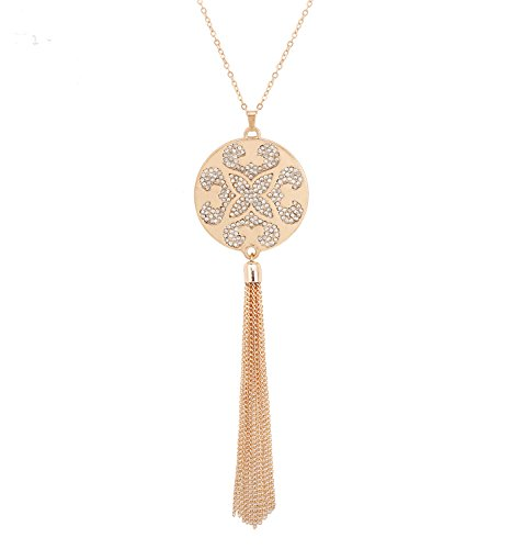 Tassel Flower Charm (Long Tassel Disk Pendant Coin Necklace Charm Rhinestone Cute Flower Pattern Statement Y shaped Necklaces For Women Girls (gold))