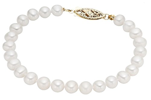 14k Yellow Gold 8-8.5mm Freshwater Cultured AA Quality Pearl Bracelet 7'' by Pearlyta