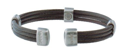 (Sabona 36565 Trio Cable Black/Satin Stainless Magnetic Bracelet, Small/Medium)