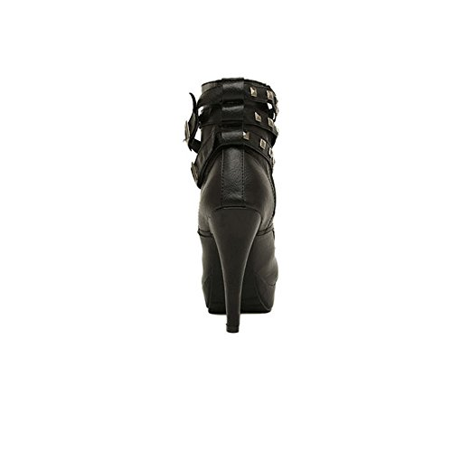 Newbestyle Femme L'automne et l'hiver Chaussures à Talons Hauts à Lacets Bottes à Talons Rivets Dentelle Bottes de Moto Chaussures Martin Boots