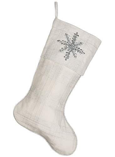 Silvertone Snowflake Embroidered Metallic Plaid 22 Inch Cotton Christmas Stocking ()